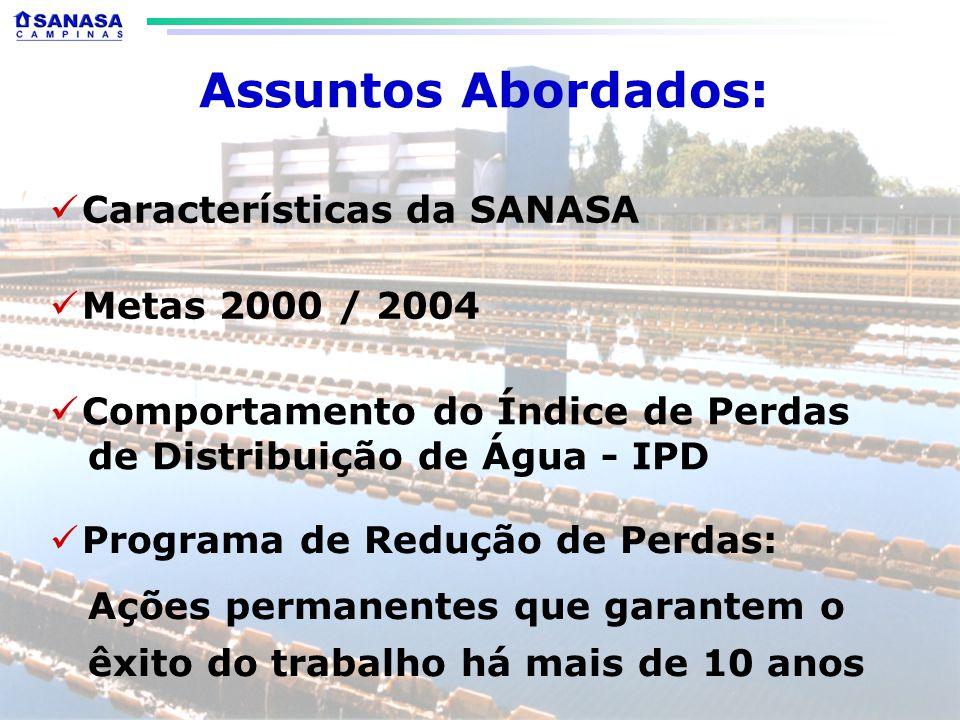 Assuntos Abordados: Características da SANASA Metas 2000 / 2004