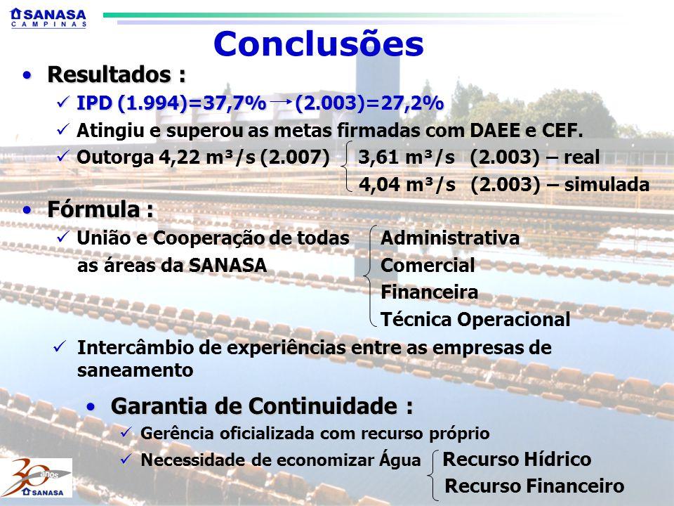 Conclusões Resultados : Fórmula : Garantia de Continuidade :