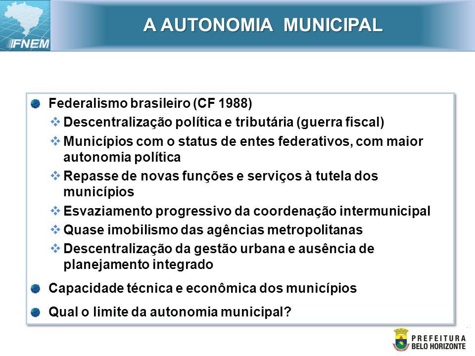 A AUTONOMIA MUNICIPAL Federalismo brasileiro (CF 1988)
