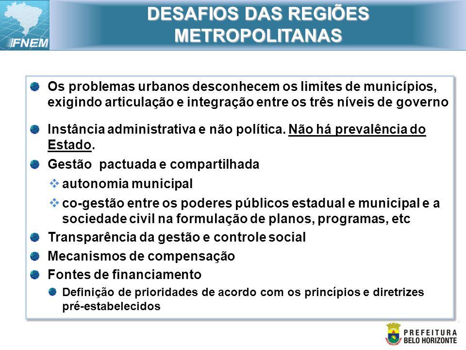 DESAFIOS DAS REGIÕES METROPOLITANAS