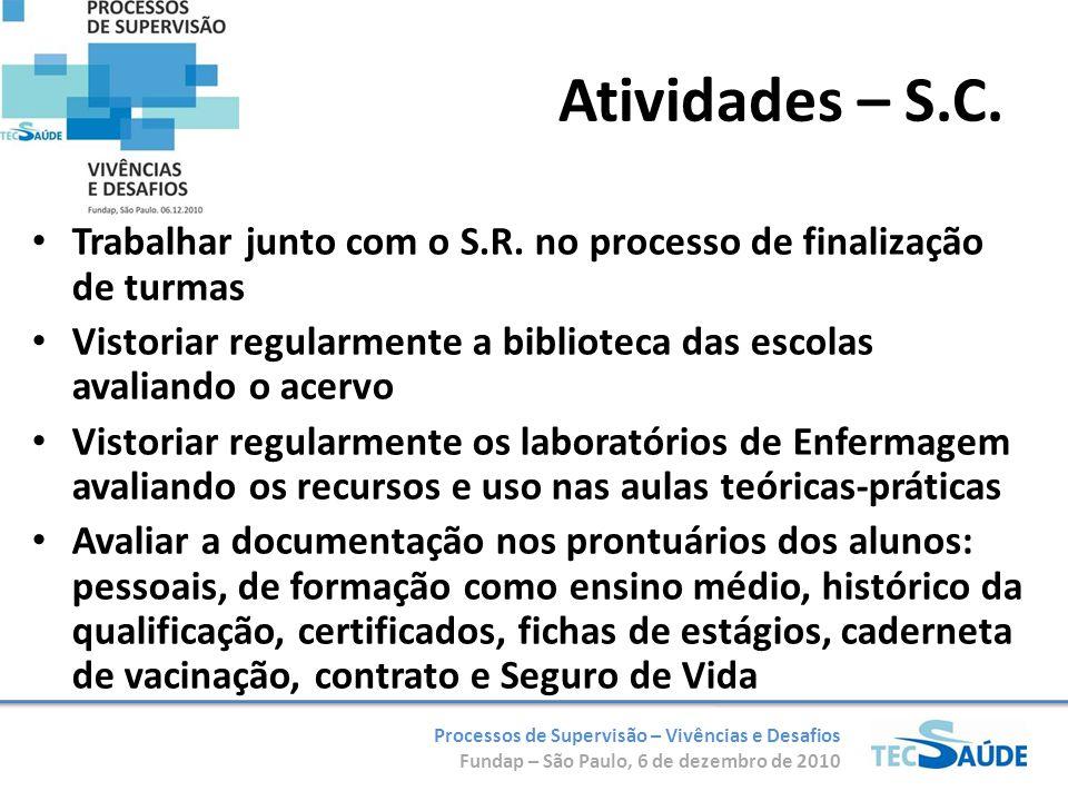 Atividades – S.C. Trabalhar junto com o S.R. no processo de finalização de turmas.
