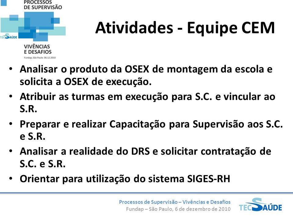 Atividades - Equipe CEM