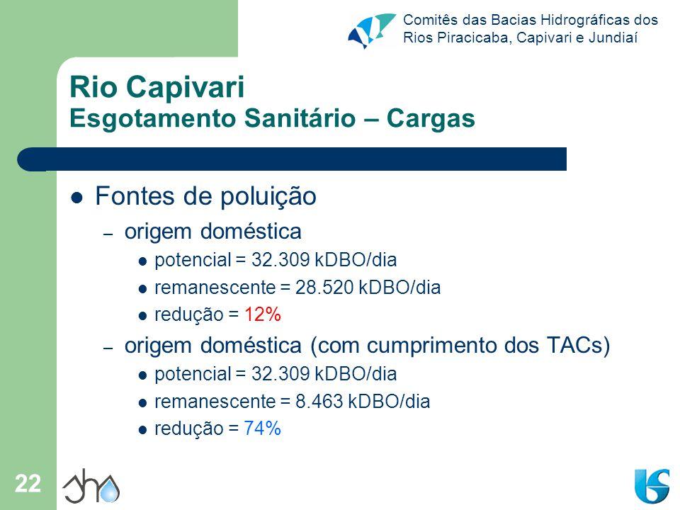 Rio Capivari Esgotamento Sanitário – Cargas