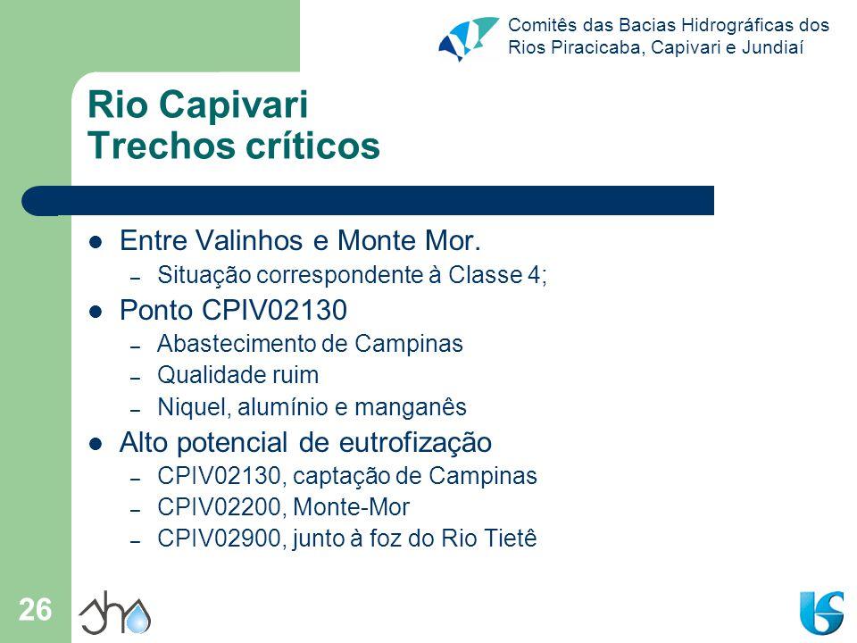 Rio Capivari Trechos críticos