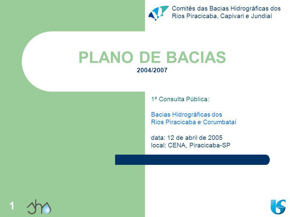 PLANO DE BACIAS 2004/2007 1ª Consulta Pública: