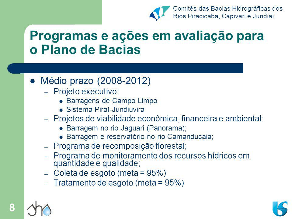 Programas e ações em avaliação para o Plano de Bacias