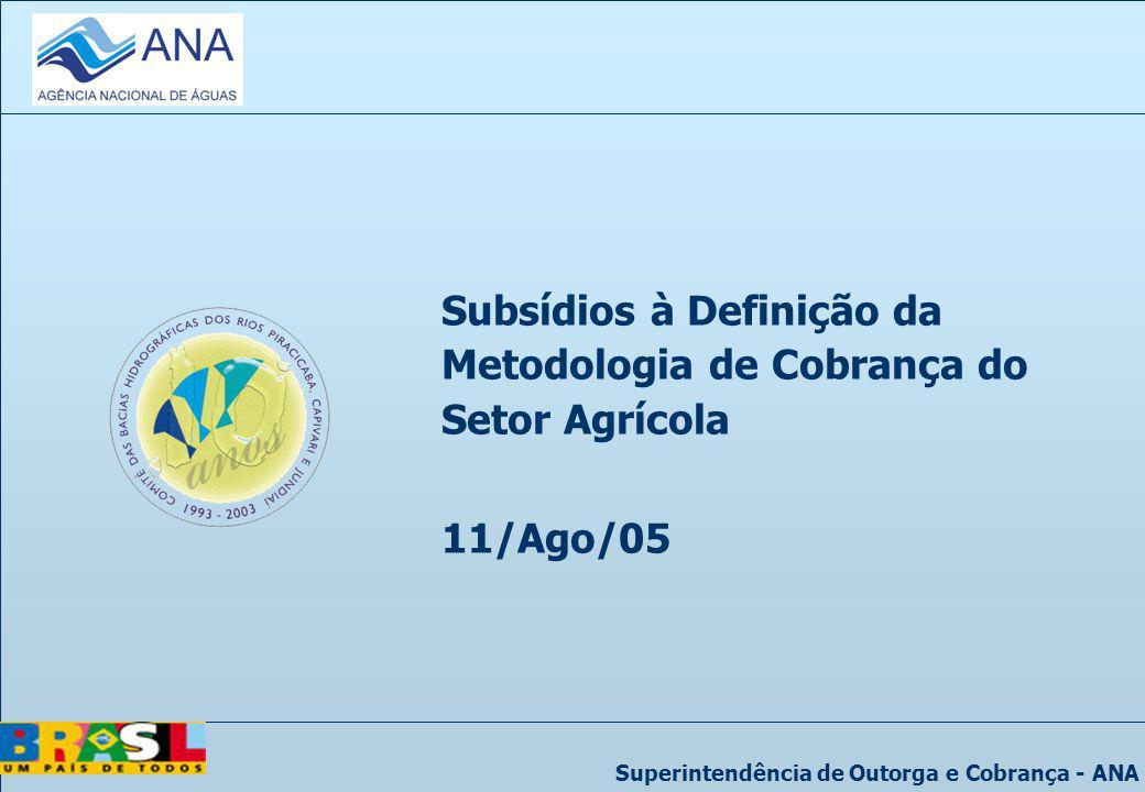 Subsídios à Definição da Metodologia de Cobrança do Setor Agrícola