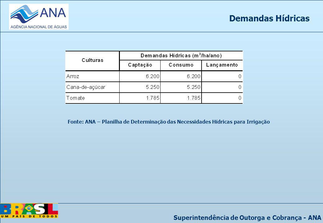 Demandas Hídricas Fonte: ANA – Planilha de Determinação das Necessidades Hídricas para Irrigação