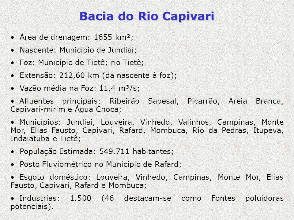 Bacia do Rio Capivari Área de drenagem: 1655 km²;