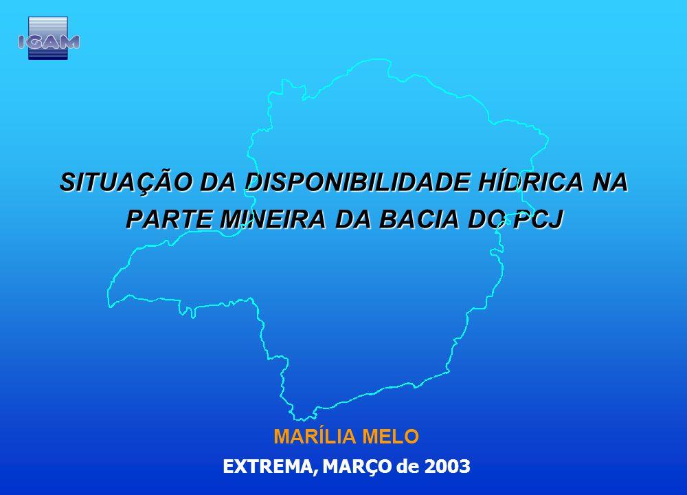 SITUAÇÃO DA DISPONIBILIDADE HÍDRICA NA PARTE MINEIRA DA BACIA DO PCJ