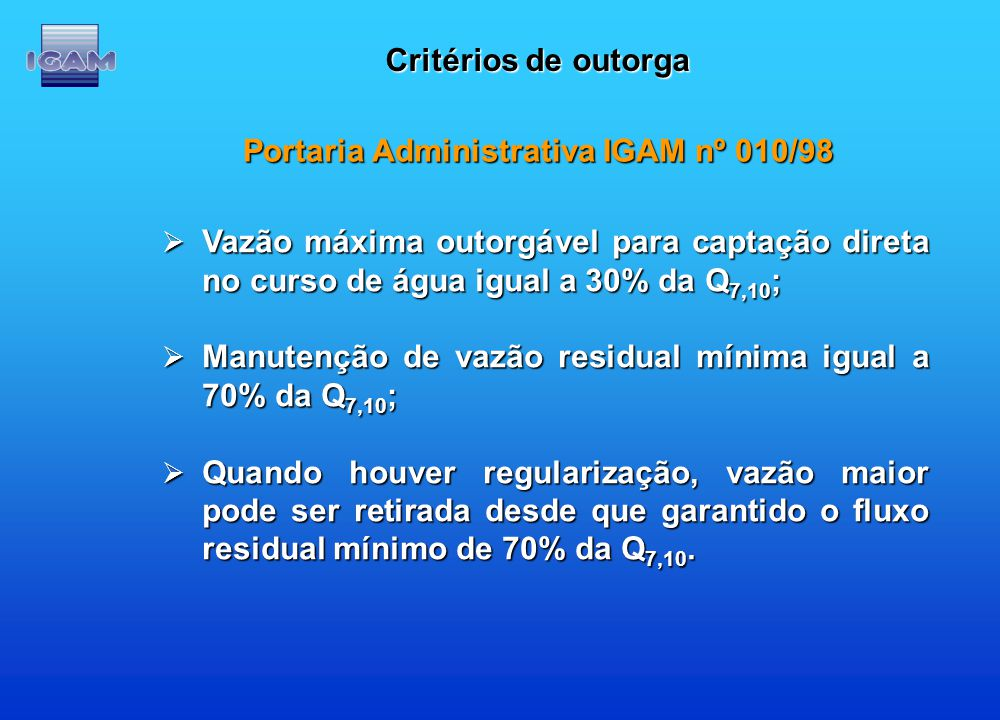 Portaria Administrativa IGAM nº 010/98