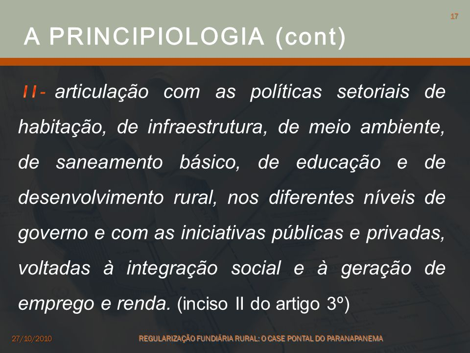 A PRINCIPIOLOGIA (cont)