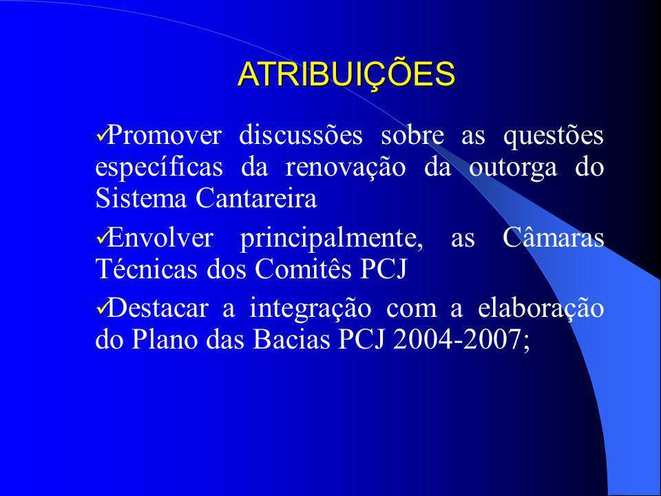 ATRIBUIÇÕES Promover discussões sobre as questões específicas da renovação da outorga do Sistema Cantareira.