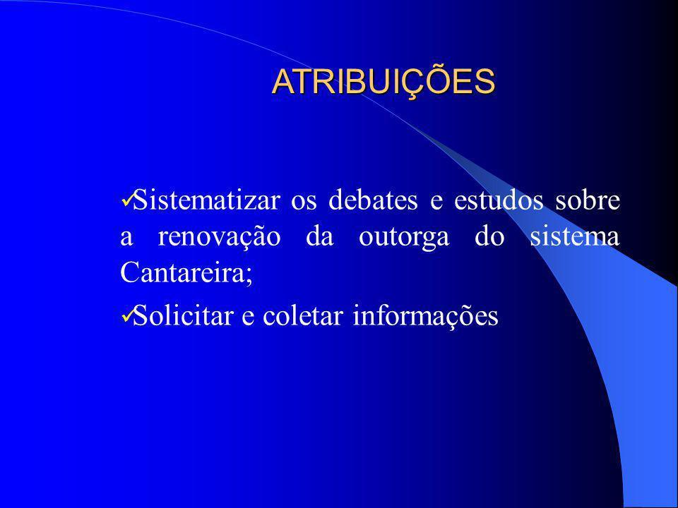 ATRIBUIÇÕES Sistematizar os debates e estudos sobre a renovação da outorga do sistema Cantareira; Solicitar e coletar informações.