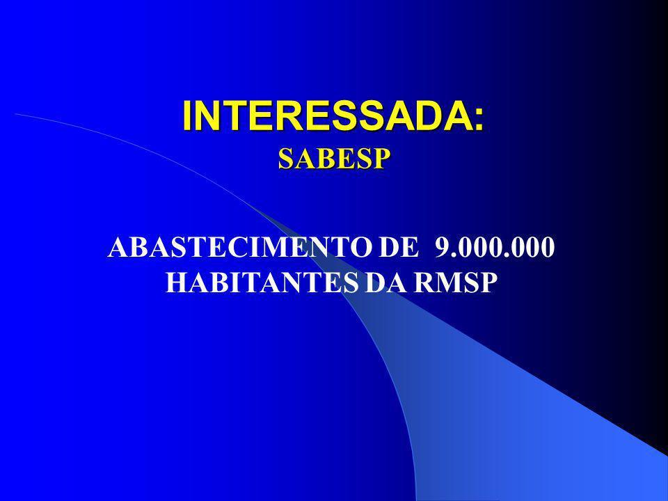 ABASTECIMENTO DE 9.000.000 HABITANTES DA RMSP
