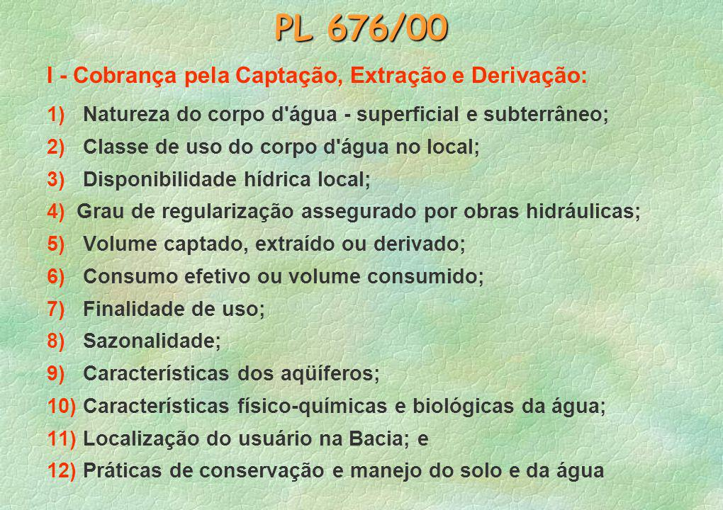 PL 676/00 I - Cobrança pela Captação, Extração e Derivação: