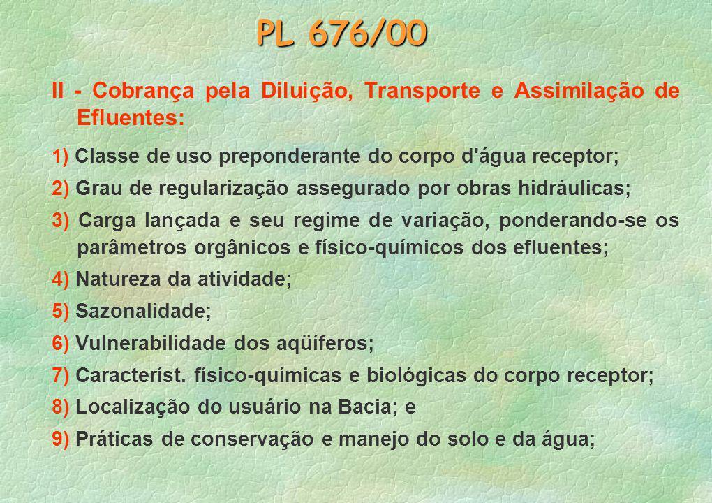 PL 676/00 II - Cobrança pela Diluição, Transporte e Assimilação de Efluentes: 1) Classe de uso preponderante do corpo d água receptor;