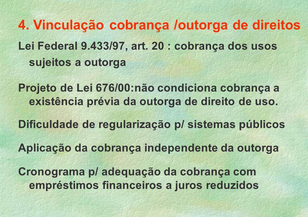 4. Vinculação cobrança /outorga de direitos