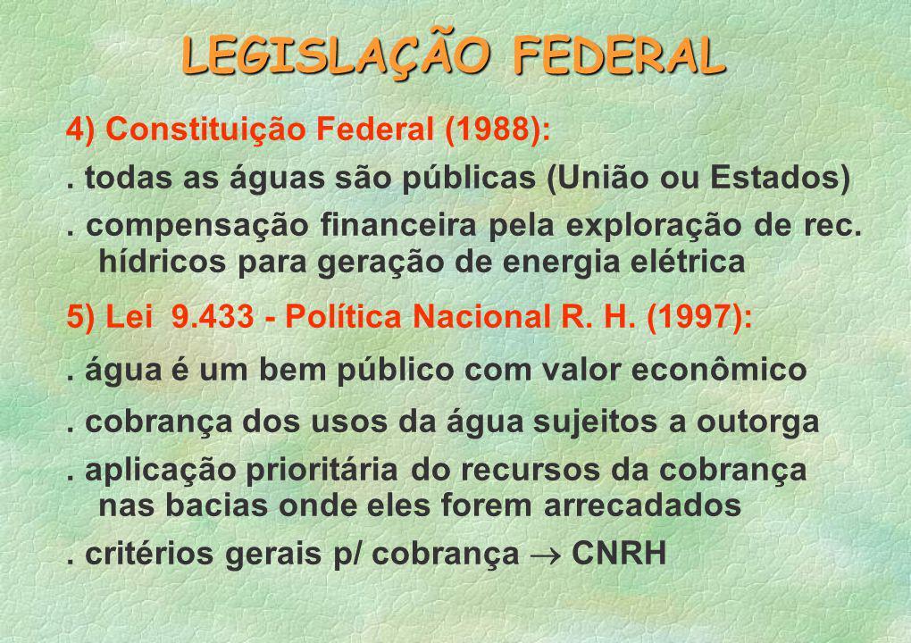 LEGISLAÇÃO FEDERAL 4) Constituição Federal (1988):