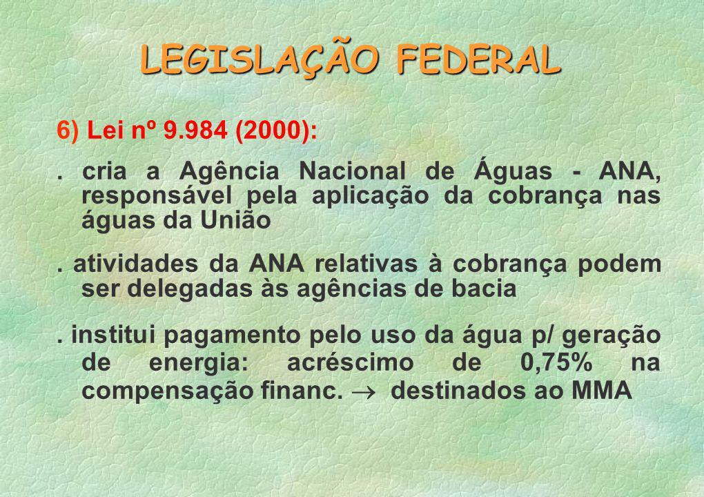 LEGISLAÇÃO FEDERAL 6) Lei nº 9.984 (2000):