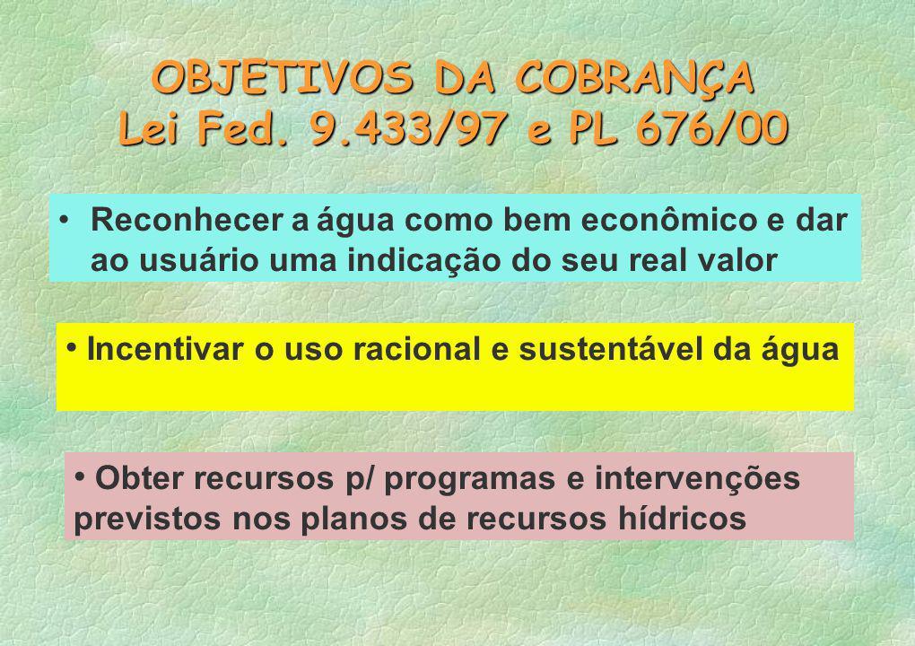 OBJETIVOS DA COBRANÇA Lei Fed. 9.433/97 e PL 676/00