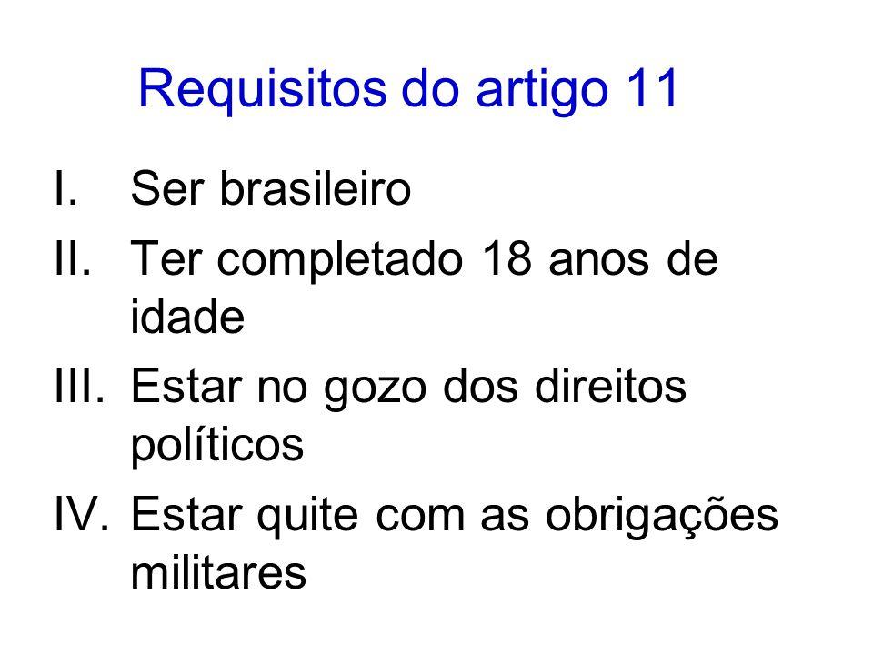 Requisitos do artigo 11 Ser brasileiro Ter completado 18 anos de idade