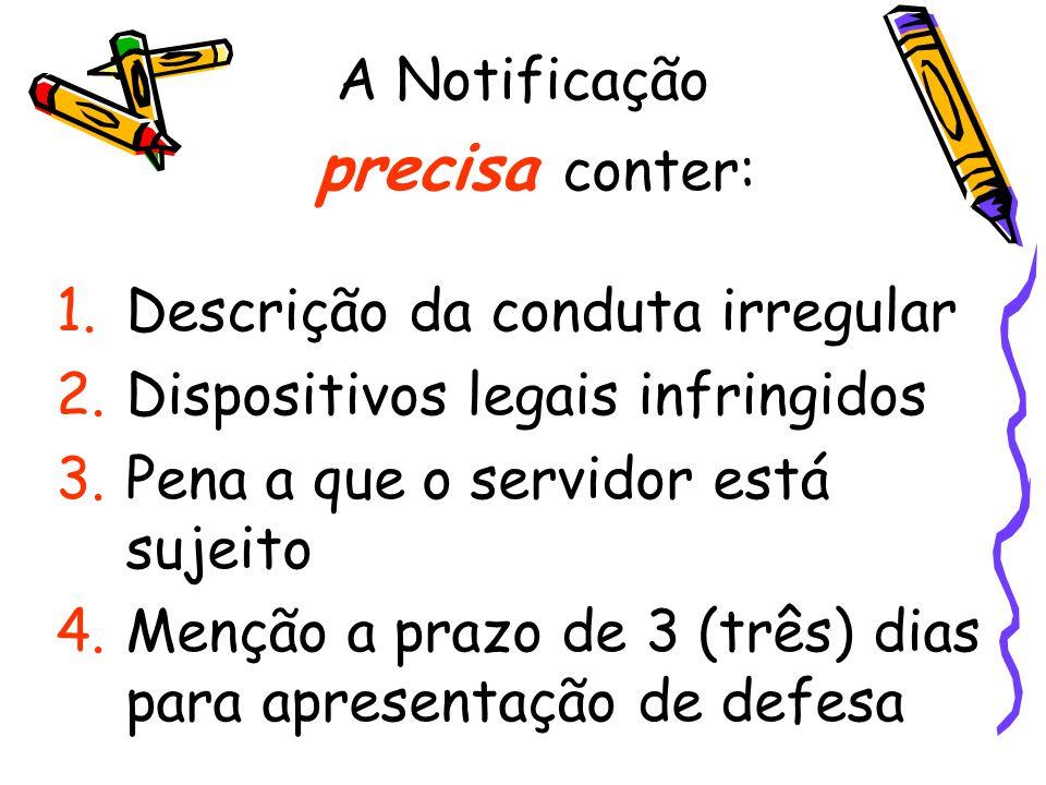 precisa conter: A Notificação Descrição da conduta irregular