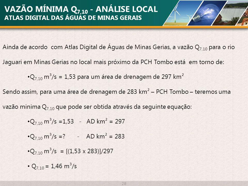 VAZÃO MÍNIMA Q7,10 - ANÁLISE LOCAL ATLAS DIGITAL DAS ÁGUAS DE MINAS GERAIS
