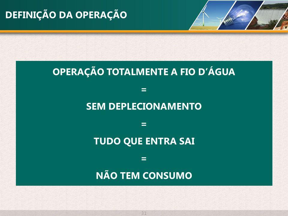 OPERAÇÃO TOTALMENTE A FIO D'ÁGUA