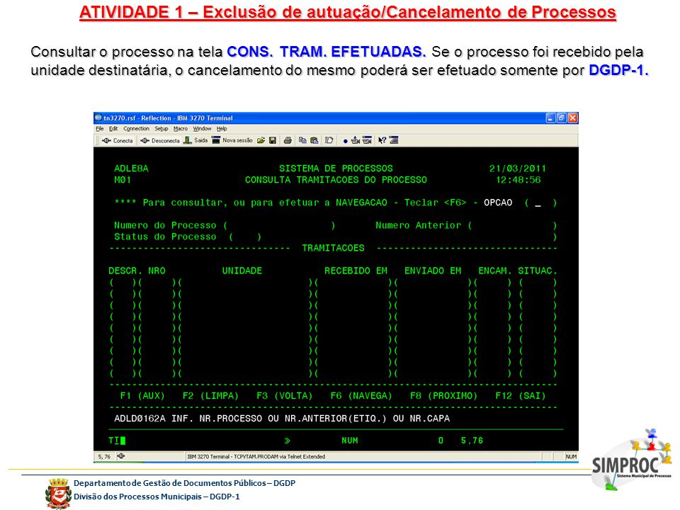 ATIVIDADE 1 – Exclusão de autuação/Cancelamento de Processos