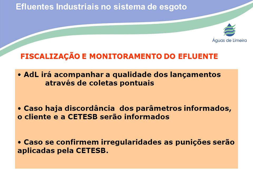 Efluentes Industriais no sistema de esgoto