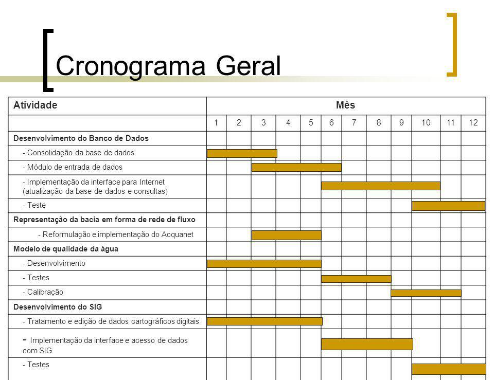 Cronograma Geral Atividade. Mês. 1. 2. 3. 4. 5. 6. 7. 8. 9. 10. 11. 12. Desenvolvimento do Banco de Dados.