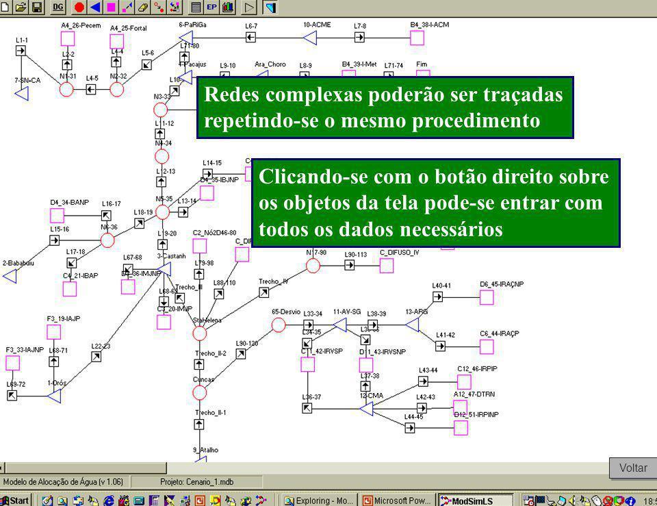 Redes complexas poderão ser traçadas repetindo-se o mesmo procedimento