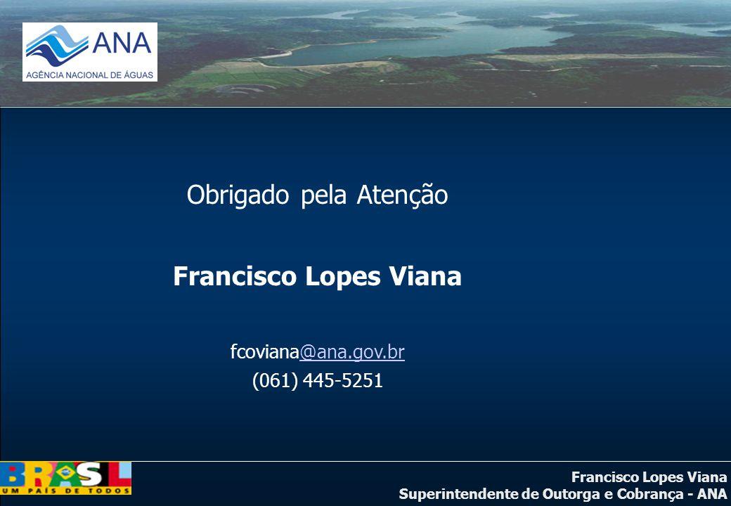 Obrigado pela Atenção Francisco Lopes Viana fcoviana@ana.gov.br