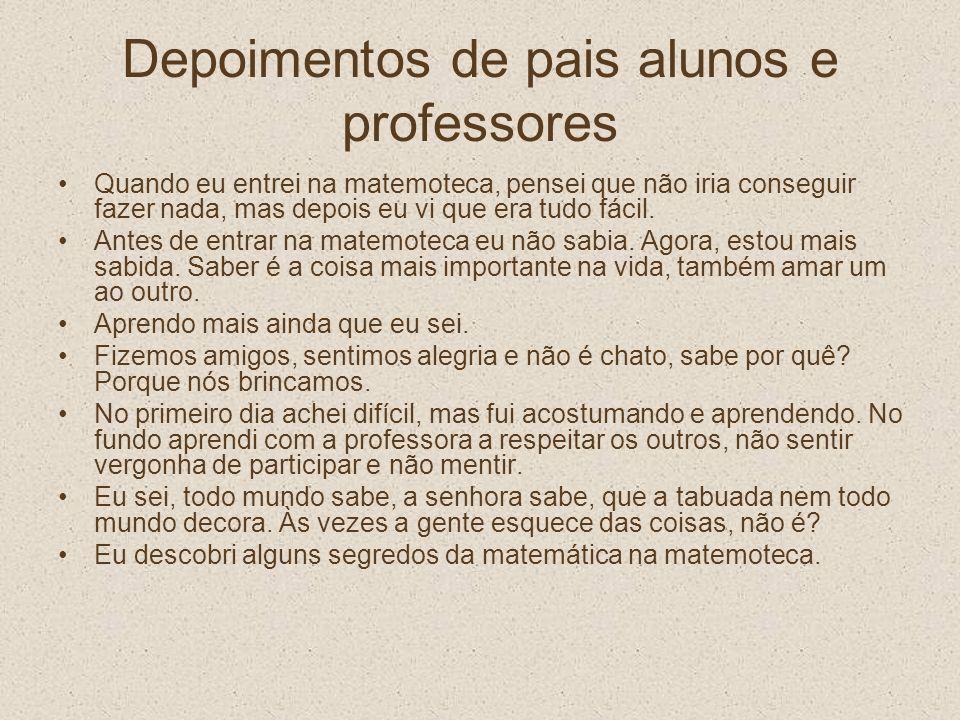 Depoimentos de pais alunos e professores