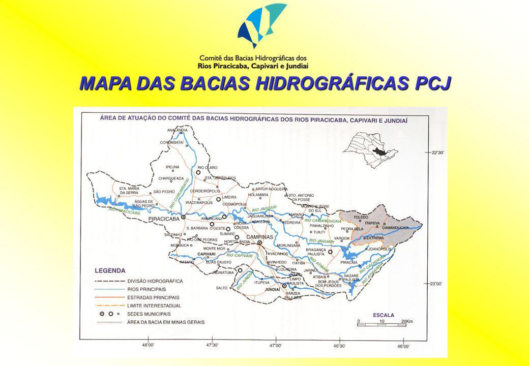 MAPA DAS BACIAS HIDROGRÁFICAS PCJ