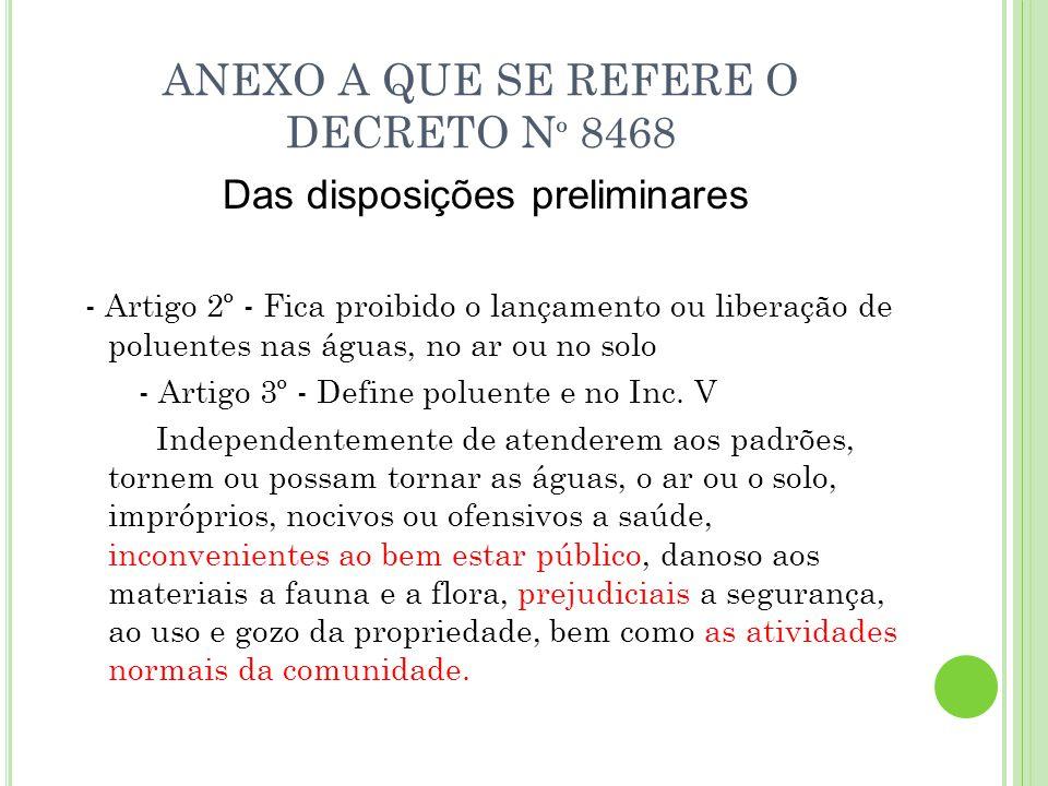 ANEXO A QUE SE REFERE O DECRETO Nº 8468
