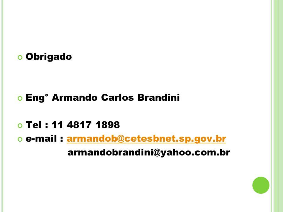 Obrigado Eng° Armando Carlos Brandini. Tel : 11 4817 1898. e-mail : armandob@cetesbnet.sp.gov.br.
