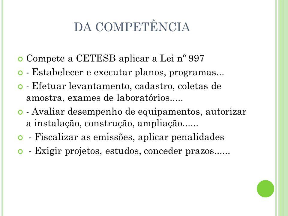 DA COMPETÊNCIA Compete a CETESB aplicar a Lei nº 997
