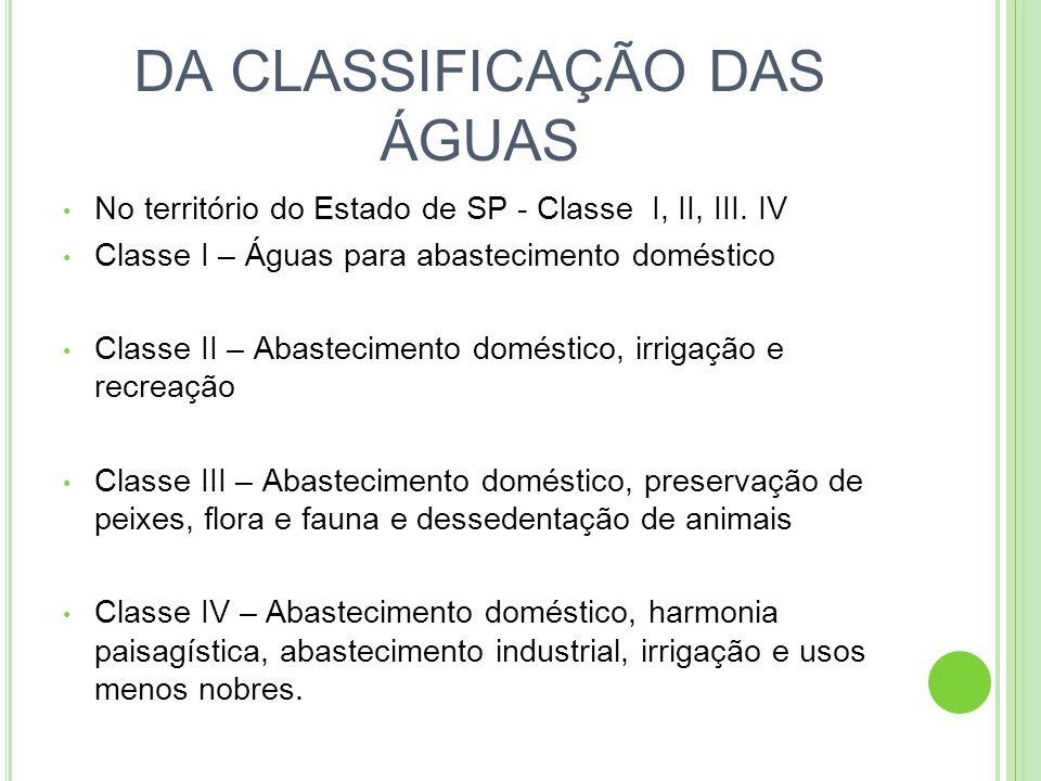 DA CLASSIFICAÇÃO DAS ÁGUAS