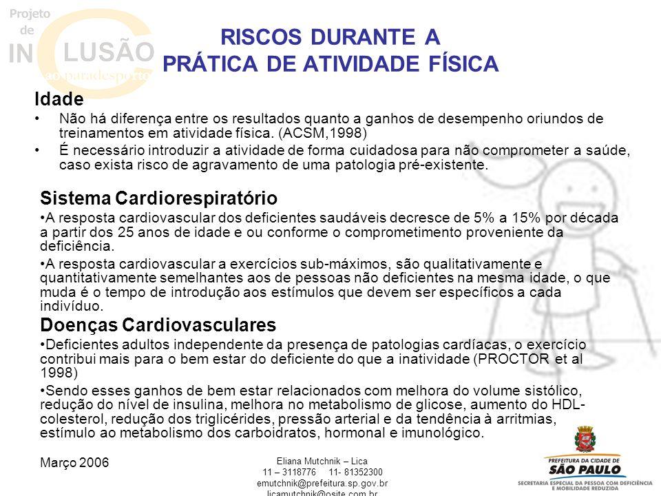RISCOS DURANTE A PRÁTICA DE ATIVIDADE FÍSICA
