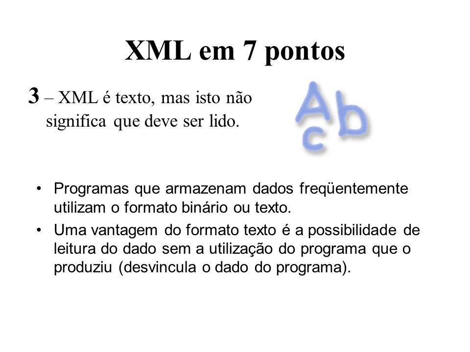 XML em 7 pontos 3 – XML é texto, mas isto não significa que deve ser lido.