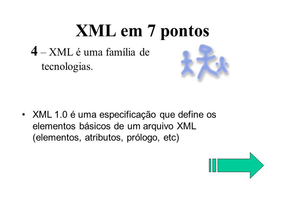 XML em 7 pontos 4 – XML é uma família de tecnologias.