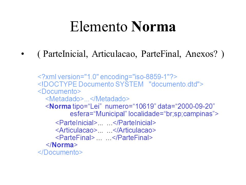 Elemento Norma ( ParteInicial, Articulacao, ParteFinal, Anexos )