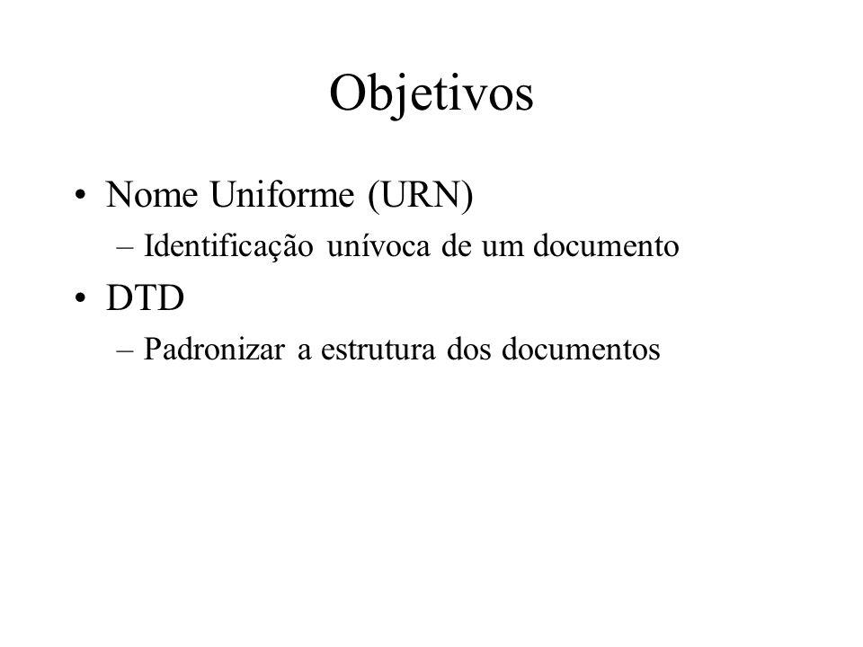 Objetivos Nome Uniforme (URN) DTD