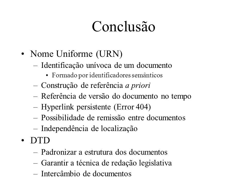 Conclusão Nome Uniforme (URN) DTD