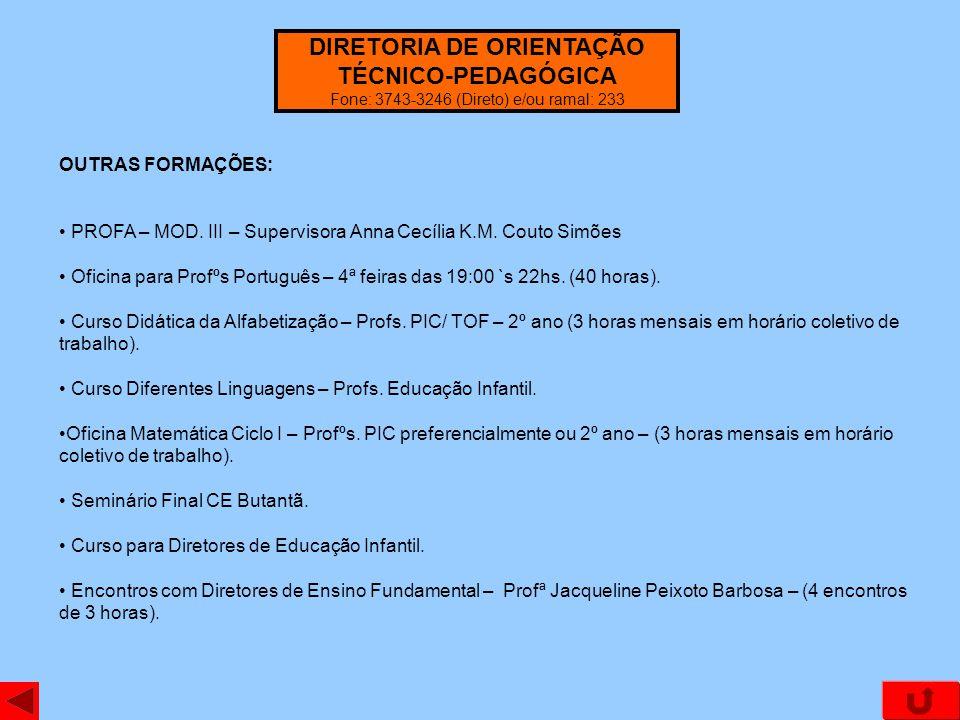 DIRETORIA DE ORIENTAÇÃO TÉCNICO-PEDAGÓGICA