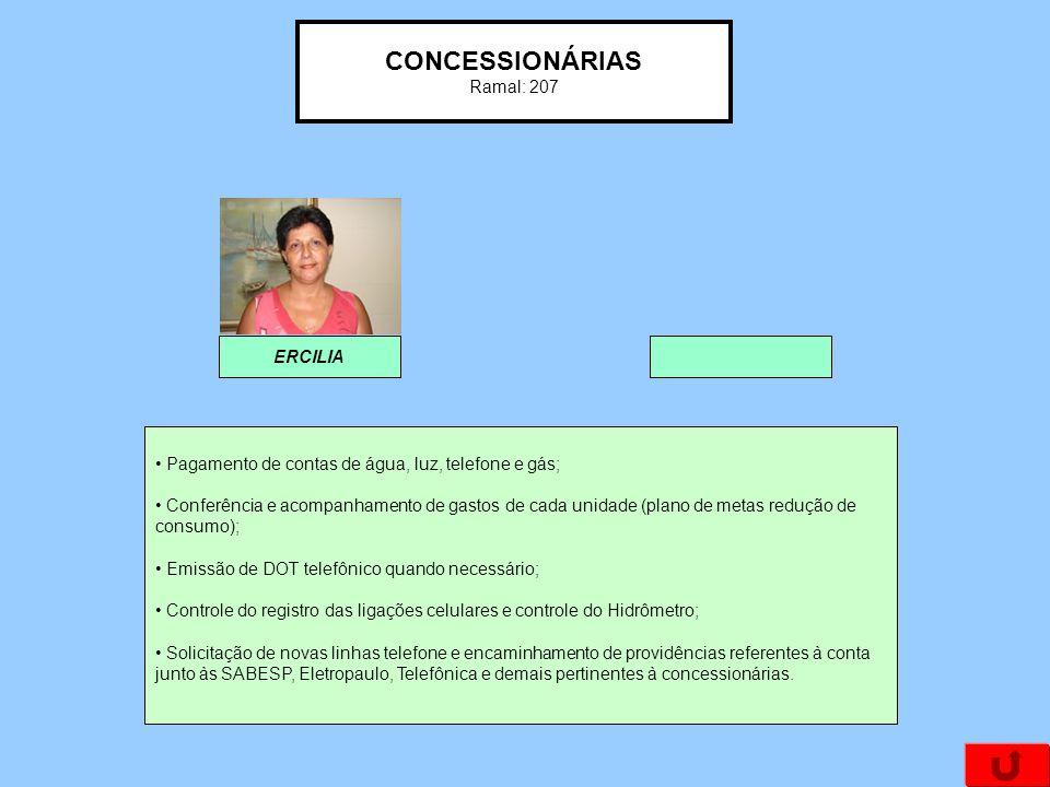 CONCESSIONÁRIAS Ramal: 207 ERCILIA