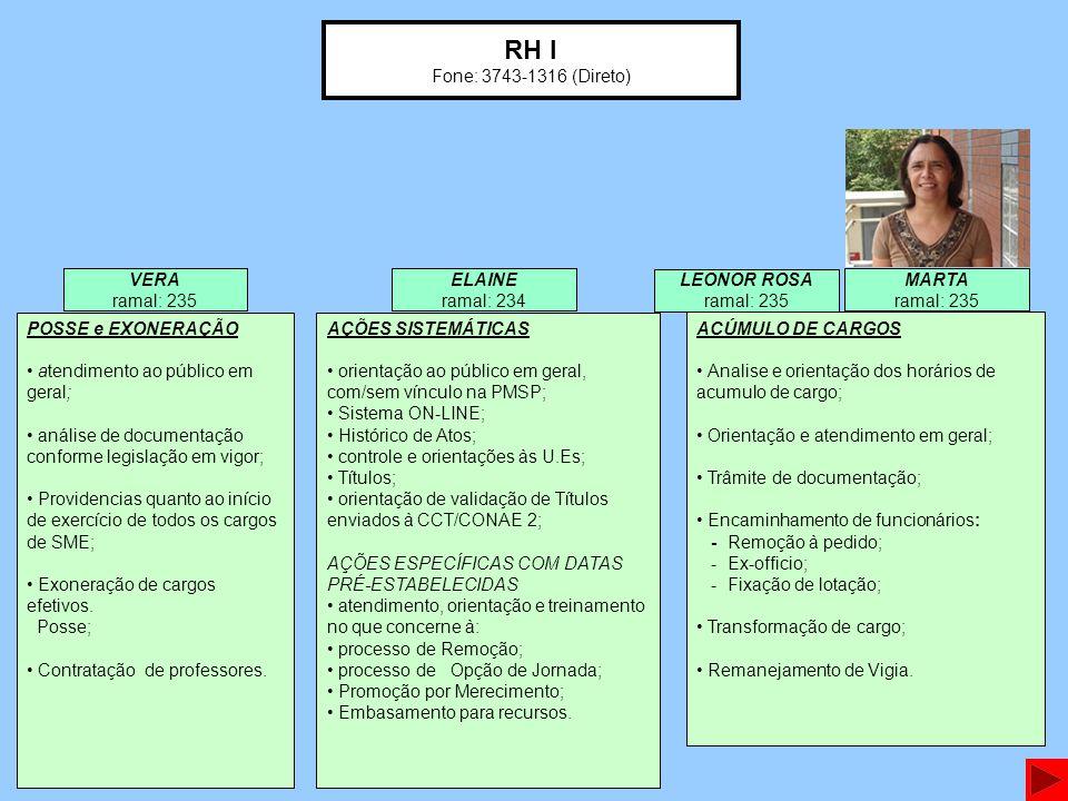 RH I Fone: 3743-1316 (Direto) VERA ramal: 235 ELAINE ramal: 234