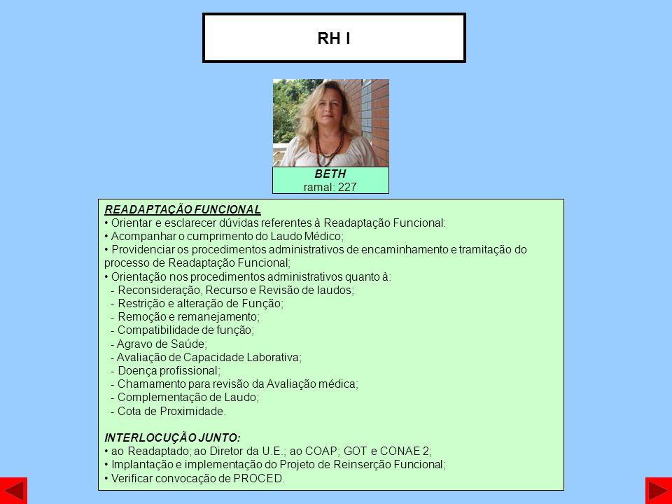RH I BETH ramal: 227 READAPTAÇÃO FUNCIONAL